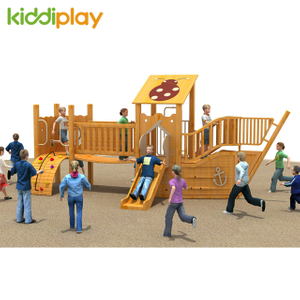 Small Wooden Pirate Ship Outdoor Playground for Children Game