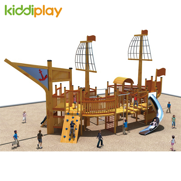 Best Quality Wooden Pirate Ship Outdoor Playground for Children Game