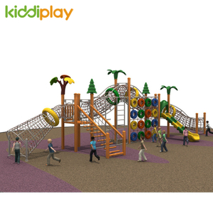 New Type Multiple Slides Wooden Climbing Outdoor Playground