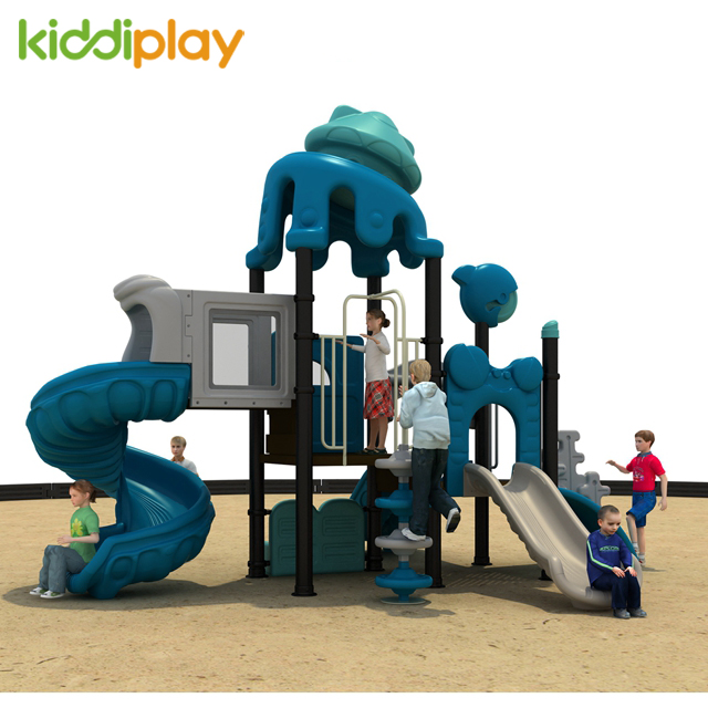 Commercial Amusement Plastic Ocean Series Slide Outdoor Playground for Kids