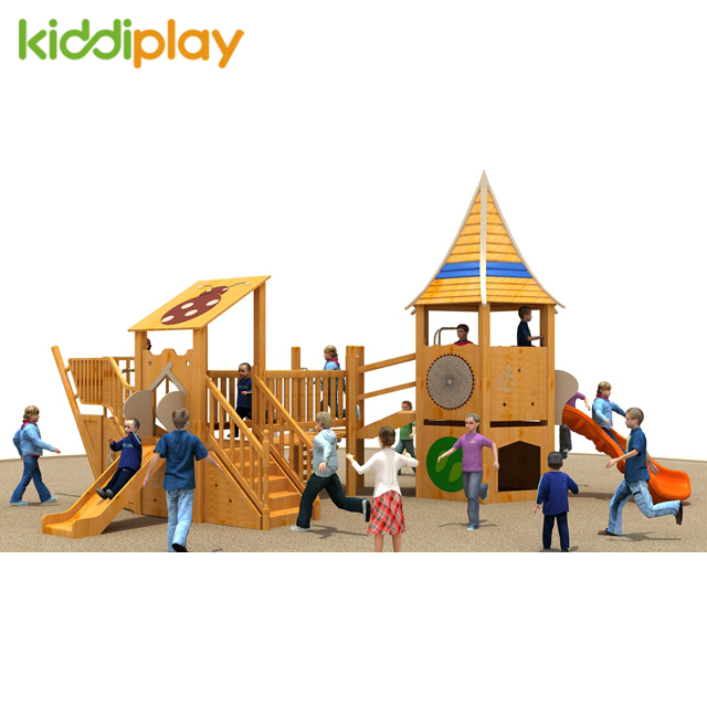 Safe Wooden Slide Series Kindergarten Exterior Outdoor Play Area Equipment