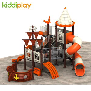 Kids Metal Pirate Ship Series Slides Plastic Outdoor Playground Spiral Slide Toys