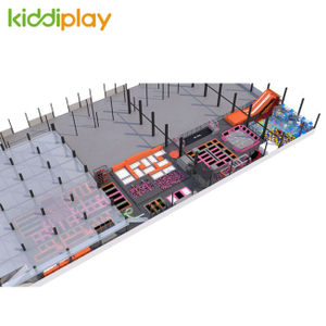 KD11050B New Arrival And Large Indoor Trampoline Park with Spider Tower Zip Line Parkour