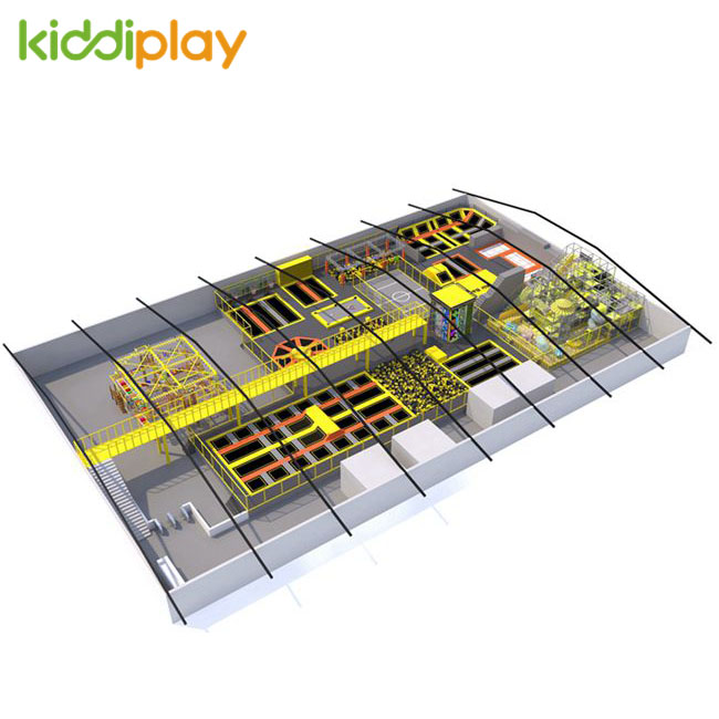 KD11049A Professional Eco-friendly Safety Free Jump Ninja Course Russian Roulette Slum Dunk Area Children Big Indoor Trampoline Park