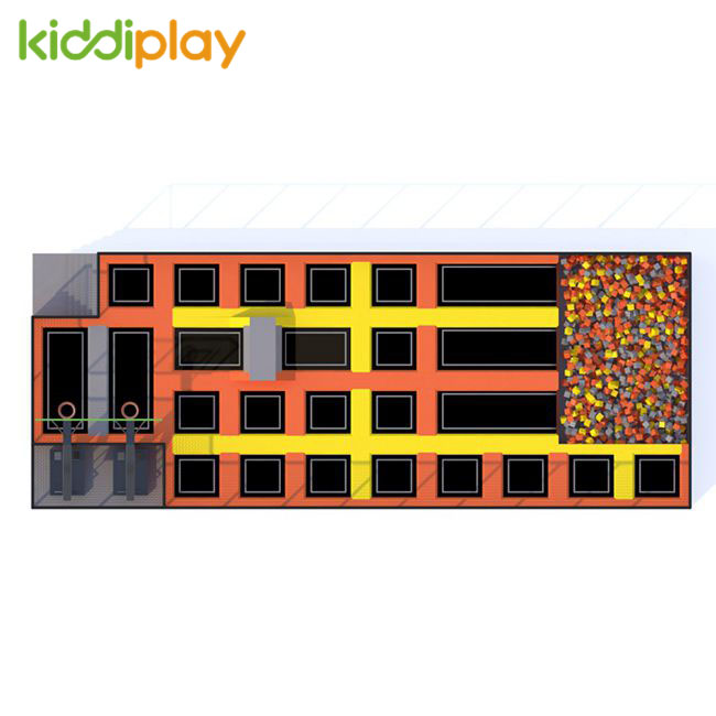 KD11043B Slam Dunk Area Foam Pit Jumping Trampoline Park Center
